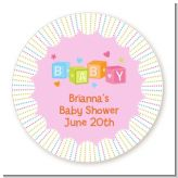 Baby Blocks Pink - Round Personalized Baby Shower Sticker Labels