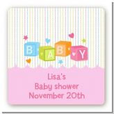 Baby Blocks Pink - Square Personalized Baby Shower Sticker Labels