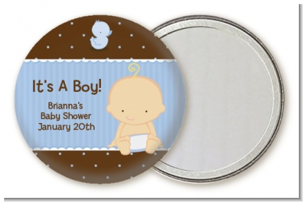 Baby Boy Caucasian - Personalized Baby Shower Pocket Mirror Favors