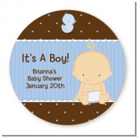 Baby Boy Caucasian - Round Personalized Baby Shower Sticker Labels