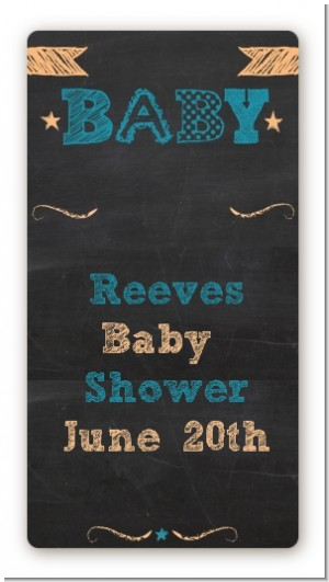 Baby Boy Chalk Inspired - Custom Rectangle Baby Shower Sticker/Labels