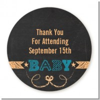 Baby Boy Chalk Inspired - Round Personalized Baby Shower Sticker Labels