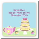 Baby Brewing Tea Party - Square Personalized Baby Shower Sticker Labels