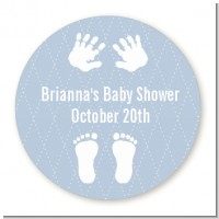 Baby Feet Pitter Patter Blue - Round Personalized Baby Shower Sticker Labels