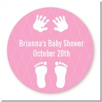 Baby Feet Pitter Patter Pink - Round Personalized Baby Shower Sticker Labels