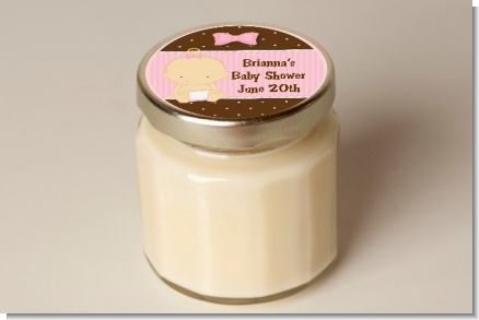 Baby Girl Caucasian - Baby Shower Personalized Candle Jar