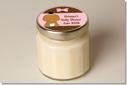 Baby Girl African American - Baby Shower Personalized Candle Jar
