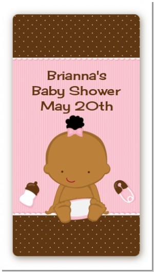 Baby Girl African American - Custom Rectangle Baby Shower Sticker/Labels