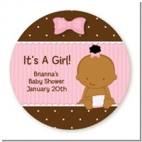 Baby Girl African American - Round Personalized Baby Shower Sticker Labels