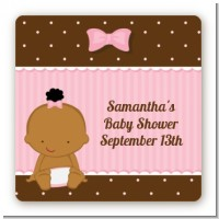 Baby Girl African American - Square Personalized Baby Shower Sticker Labels