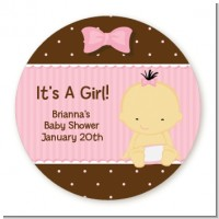 Baby Girl Asian - Round Personalized Baby Shower Sticker Labels