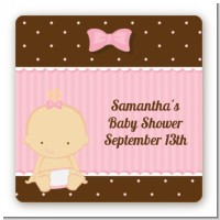 Baby Girl Caucasian - Square Personalized Baby Shower Sticker Labels