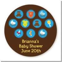Baby Icons Blue - Round Personalized Baby Shower Sticker Labels