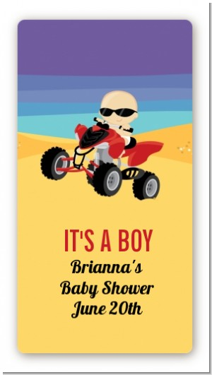 Baby On A Quad - Custom Rectangle Baby Shower Sticker/Labels
