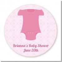 Baby Outfit Pink - Round Personalized Baby Shower Sticker Labels