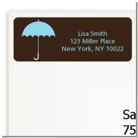 Baby Sprinkle Umbrella Blue - Baby Shower Return Address Labels