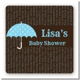 Baby Sprinkle Umbrella Blue - Square Personalized Baby Shower Sticker Labels