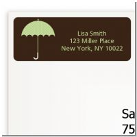 Baby Sprinkle Umbrella Green - Baby Shower Return Address Labels