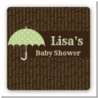 Baby Sprinkle Umbrella Green - Square Personalized Baby Shower Sticker Labels