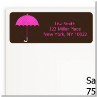 Baby Sprinkle Umbrella Pink - Baby Shower Return Address Labels