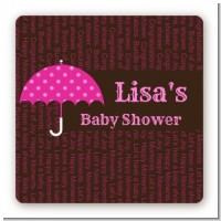 Baby Sprinkle Umbrella Pink - Square Personalized Baby Shower Sticker Labels