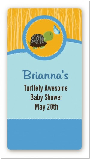 Baby Turtle Blue - Custom Rectangle Baby Shower Sticker/Labels
