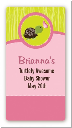 Baby Turtle Pink - Custom Rectangle Baby Shower Sticker/Labels