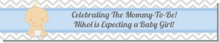 It's A Boy Chevron - Personalized Baby Shower Banners