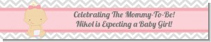 It's A Girl Chevron - Personalized Baby Shower Banners