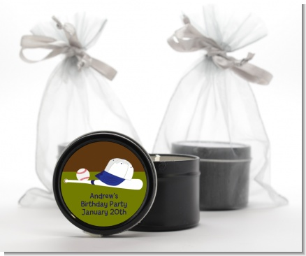 Baseball - Birthday Party Black Candle Tin Favors