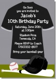 Baseball Jersey Black and White - Birthday Party Invitations