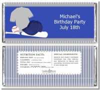 Baseball Jersey Blue and Grey - Personalized Birthday Party Candy Bar Wrappers