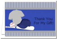 Baseball Jersey Blue and Grey - Birthday Party Thank You Cards