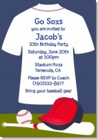 Baseball Jersey Blue and Red - Birthday Party Invitations