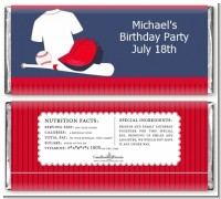 Baseball Jersey Blue and Red - Personalized Birthday Party Candy Bar Wrappers
