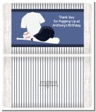 Baseball Jersey Blue and White Stripes - Personalized Popcorn Wrapper Birthday Party Favors