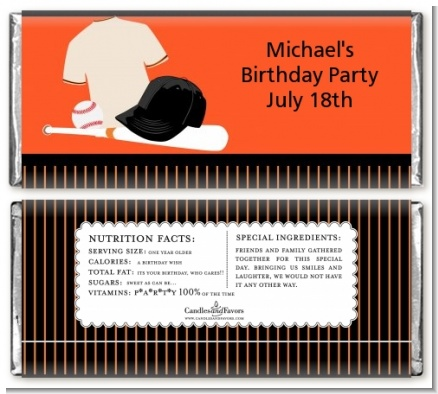 Baseball Jersey Orange and Black - Personalized Birthday Party Candy Bar Wrappers
