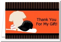 Baseball Jersey Orange and Black - Birthday Party Thank You Cards