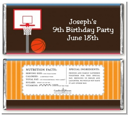 Basketball - Personalized Birthday Party Candy Bar Wrappers
