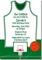 Basketball Jersey Green and White - Birthday Party Invitations