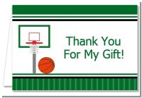 Basketball Jersey Green and White - Birthday Party Thank You Cards