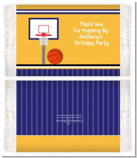 Basketball Jersey Purple and Yellow - Personalized Popcorn Wrapper Birthday Party Favors
