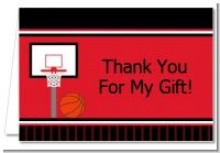 Basketball Jersey Red and Black - Birthday Party Thank You Cards