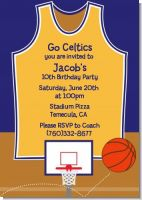 Basketball Purple and Yellow - Birthday Party Invitations