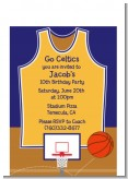 Basketball Purple and Yellow - Birthday Party Petite Invitations
