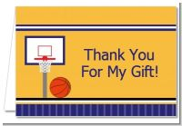 Basketball Purple and Yellow - Birthday Party Thank You Cards