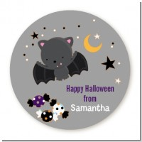 Bat - Round Personalized Halloween Sticker Labels