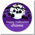 Bats On A Branch - Round Personalized Halloween Sticker Labels thumbnail