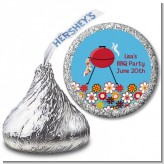 BBQ Grill - Hershey Kiss Birthday Party Sticker Labels