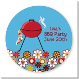 BBQ Grill - Round Personalized Birthday Party Sticker Labels